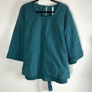 Seven7 Teal Blue Tie Back 3/4 Sleeves Blouse Shirt